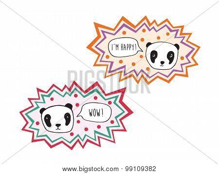 Hand drawn pandas with speech bubble.