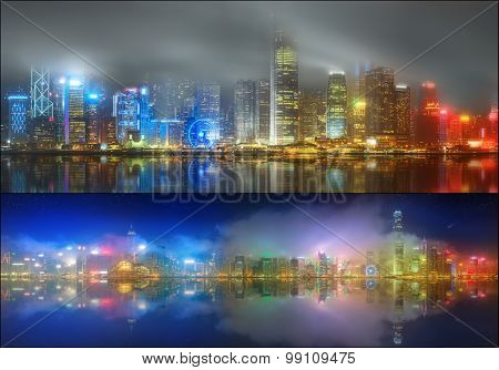 Set from views of Hong Kong and Financial district