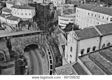 Portugal. Porto City. Historical Part Of Porto. In Black And White