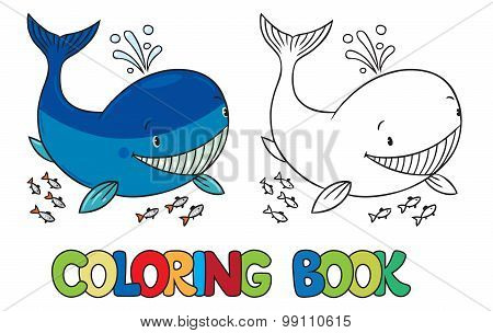 Coloring book of funny whale