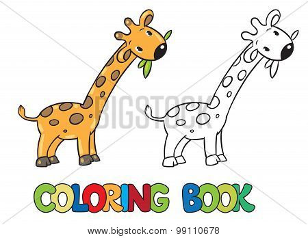 Coloring book of little funny giraffe