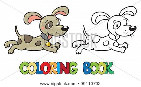 Coloring book of little dog or puppy
