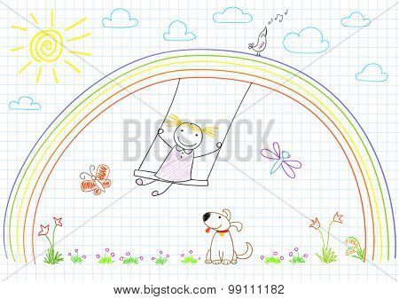 Happy little girl on swing on rainbow. Vector sketch on notebook page