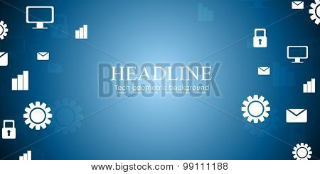 Abstract tech design with social informative web icons. Vector illustration background