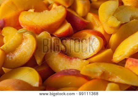 Fresh Organic Peaches  Heap Of ripe peach slices. Cooking jam