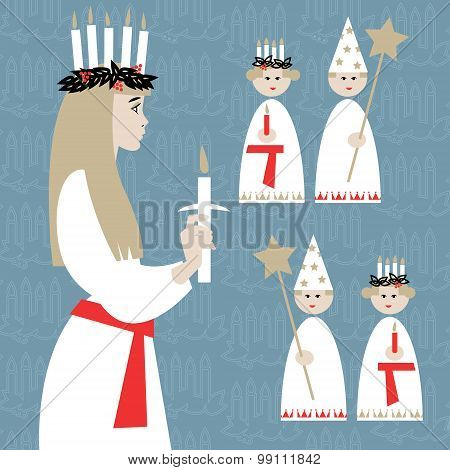 Saint Lucia. Swedish Christmas Tradition. St. Lucia's Day. Scandinavian Christmas.