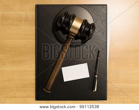 Wooden Judges Gavel And Business Cards On The Wooden Background