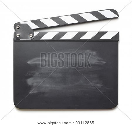 Movie clapper on white background