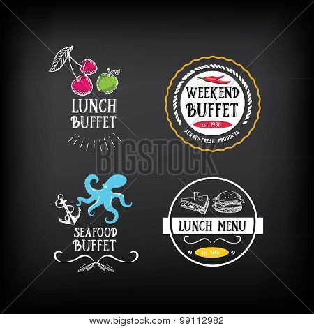 Buffet menu, restaurant design. All you can eat.Vector with grap