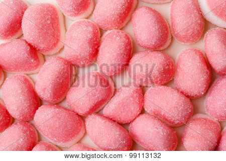 Pink Jellies Or Marshmallows As Background