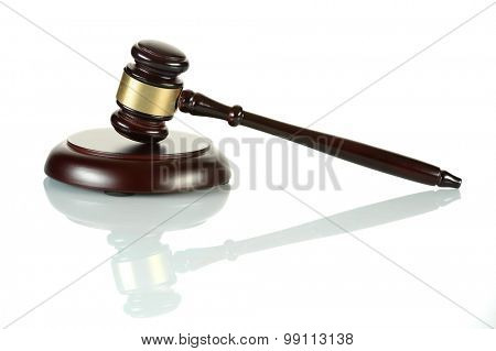 Gavel and sound block isolated over white background