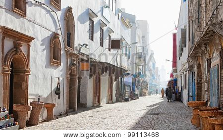 Misty  morning in shopping street,  Medina of Essaouira, Morocco