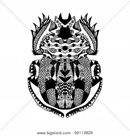 Zentangle stylized scarab Sketch for tattoo poster print t-shirt