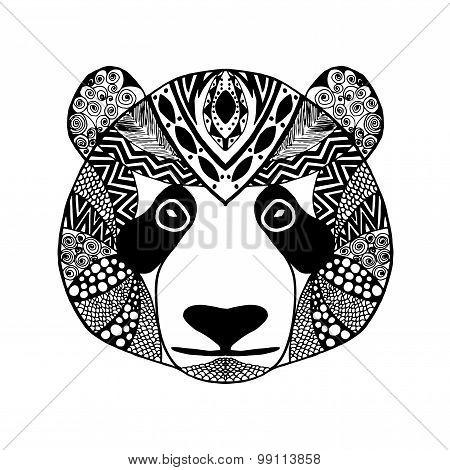 Zentangle stylized panda. Sketch for tattoo or t-shirt.