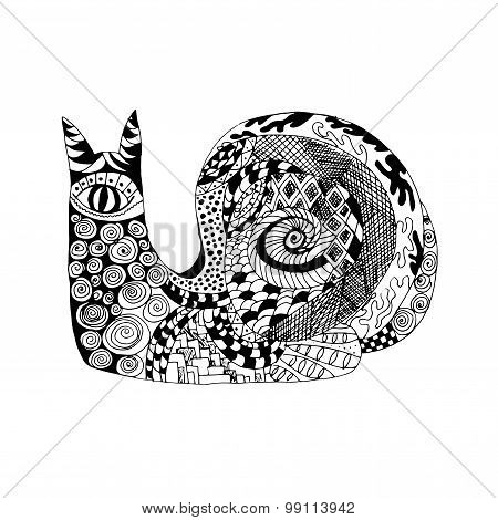 Zentangle stylized snail. Sketch for tattoo or t-shirt.