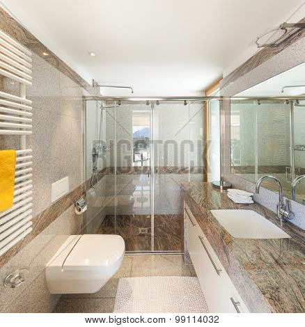 Interior of a modern apartment, domestic bathroom