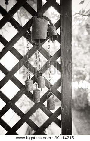 Old Cow Bell Decoration Black And White