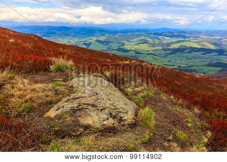 Old stone on slope of Carpathian mountains