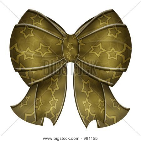Fancy Yellow Bow With Stars