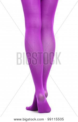 Woman Slim Legs And Violet Stockings Isolated
