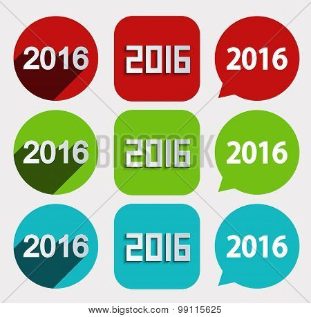 vector modern 2016 New Year icons set
