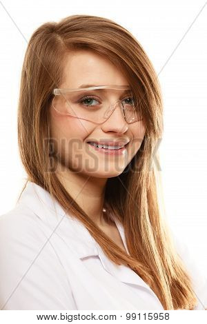 Laboratory. Chemist Woman In Goggles Glasses Isolated