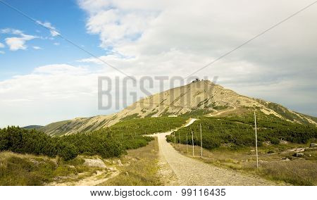 View of the mountain Sniezka, hiking trail