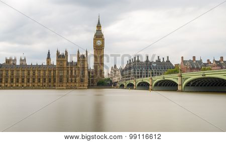 Long Exposure Shot Of Big Ben And Houses Of Parliament, London