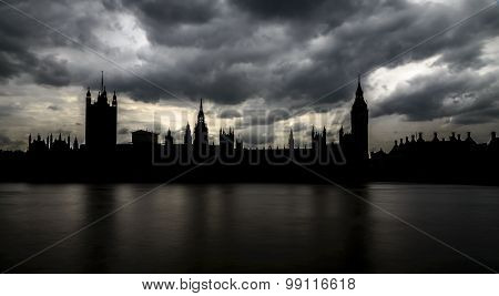Silhouette Of Big Ben And Houses Of Parliament, London