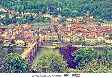 Aerial View Of Heidelberg Old Town, Germany