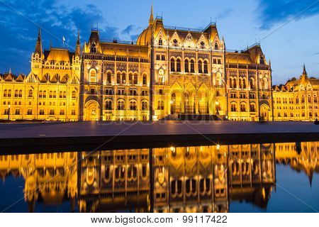 Budapest Hungary, Parliament night shot
