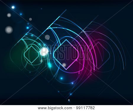 Glowing elements and blending colors in dark space. Vector illustration. Abstract background