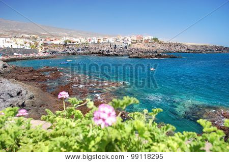 Picturesque beach and volcanic rocks in Alcala on Tenerife, Spain