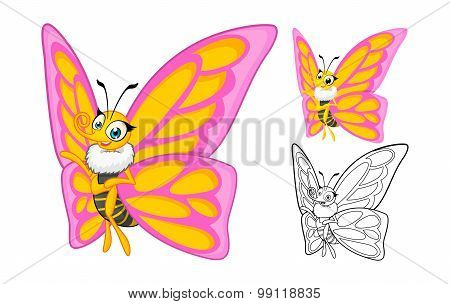 Detailed Butterfly Cartoon Character with Flat Design and Line Art Black and White Version