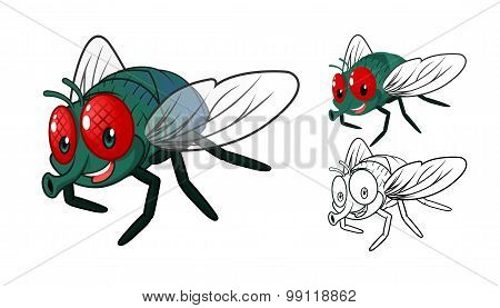 Detailed Fly Cartoon Character with Flat Design and Line Art Black and White Version