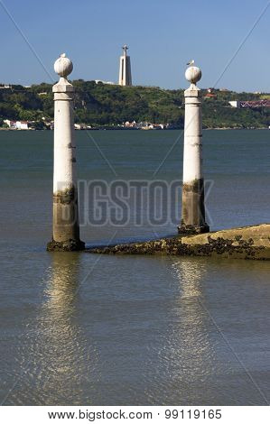 Columns Pier (Portuguese: Cais das Colunas) by the Tagus river in Lisbon, Portugal.