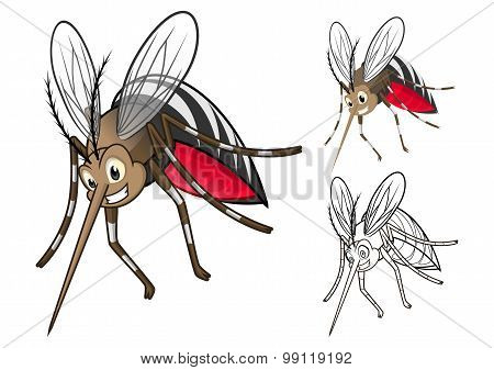 Detailed Mosquitoes Cartoon Character with Flat Design and Line Art Black and White Version