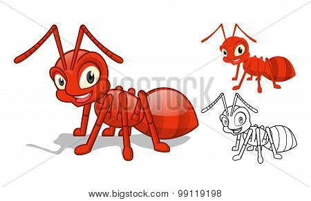 Detailed Red Ant Cartoon Character with Flat Design and Line Art Black and White Version