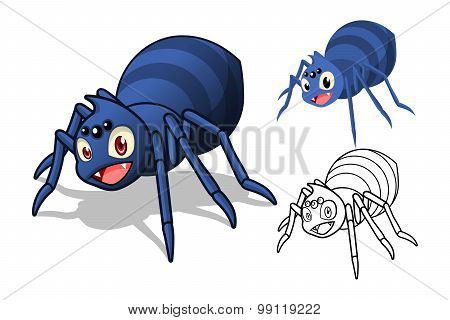 Detailed Spider Cartoon Character with Flat Design and Line Art Black and White Version
