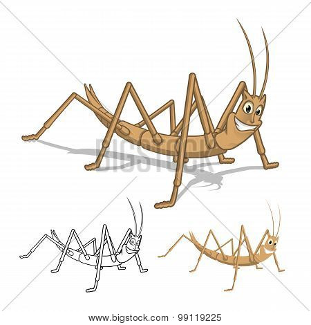 Detailed Stick Insect Cartoon Character with Flat Design and Line Art Black and White Version