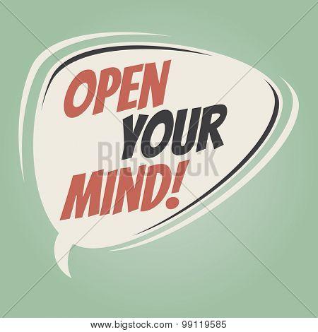 open your mind retro speech balloon