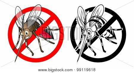 Prohibition Sign Mosquito Cartoon Character with Black and White Version