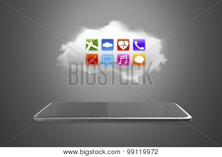 App Icons On White Cloud With Smart Tablet
