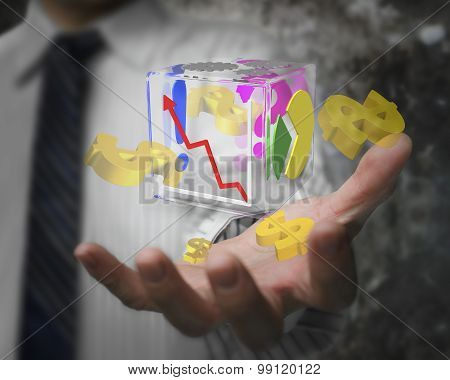 Businessman Hand Showing Glass Transparent Cube Dollar Signs