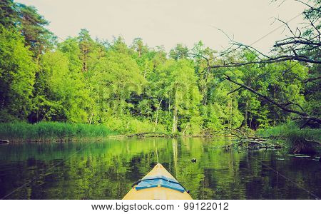 Vintage Photo Of Kayaking By Krutynia River In Poland