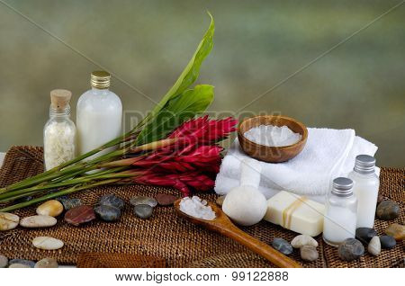 Spa Settings with candle ,red flower on mat
