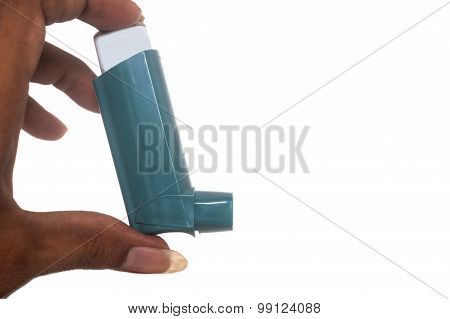 Hand With Asthma Inhaler Isolaated