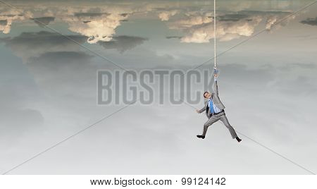 Man hang on rope