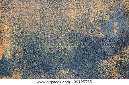 Rusted Sheet Of Glossy Black Metal With Heavy Texture