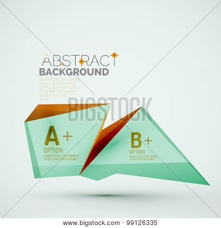 3d geometric shapes with sample text. Abstract template with place for text or infographic options. Triangles, squares, cubes, rectangles in glossy style. Vector illustration.